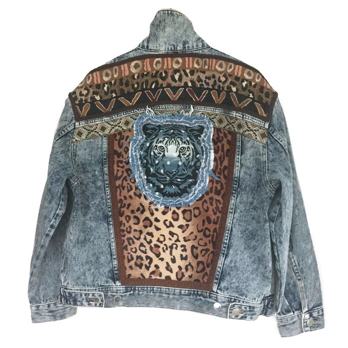Embellished denim jacket with leopard print and tiger head