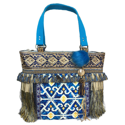 Boho tote handbag blue yellow with fringe and tassels
