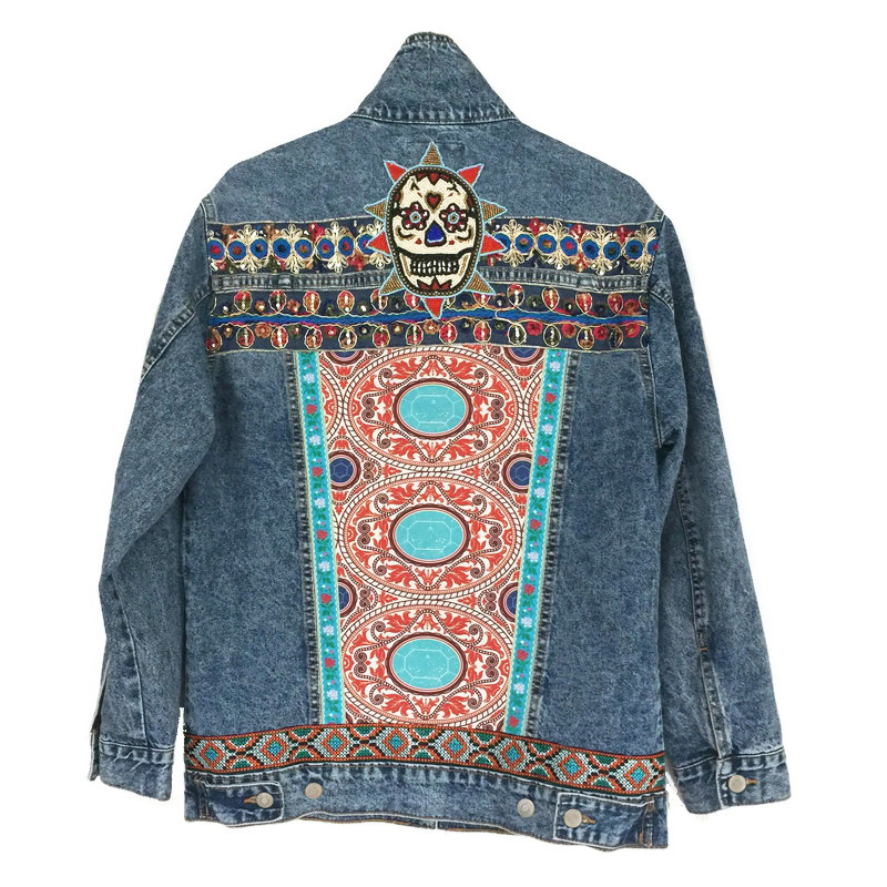 Embellished denim jacket with bead skull orange blue