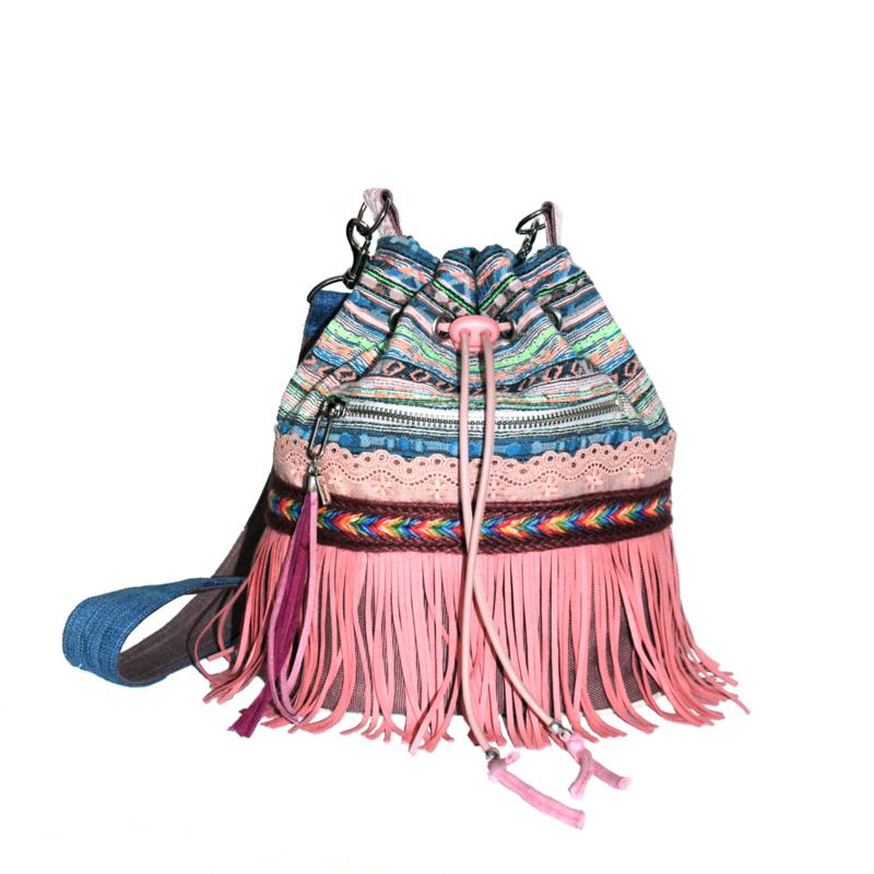 Ibiza bucket bag pink with fringes