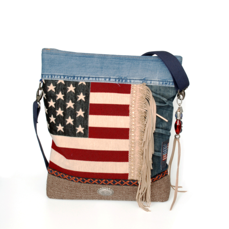 Crossbody American flag with jeans and fringe