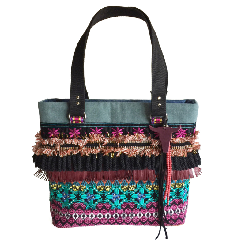 Tote handbag gypsy style colored fringe