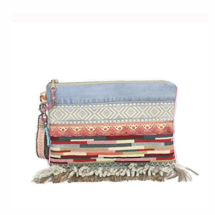 Boho clutch in pastels pink blue with fringes