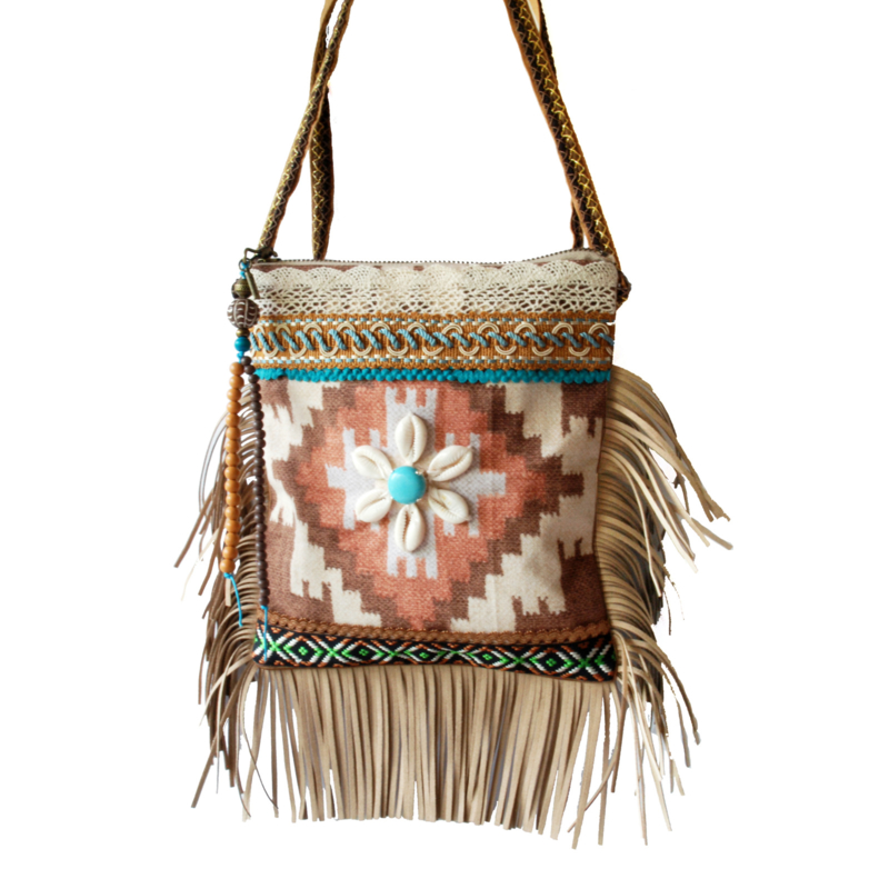 Navajo style festival purse in brown turquoise