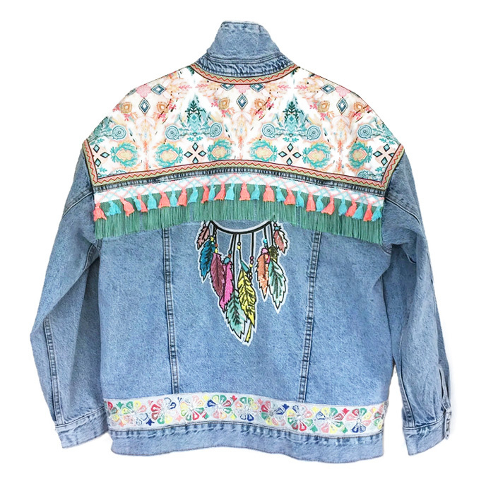 Oversized embellished denim jacket with dreamcatcher in pastels
