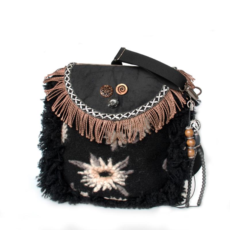 Western crossbody bag black brown with fringes