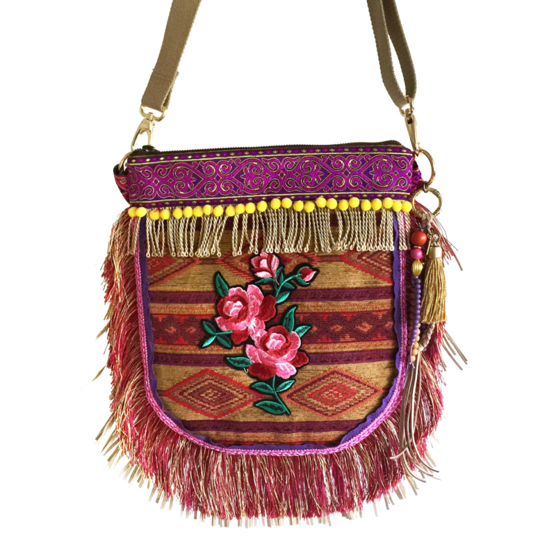Gypsy crossbody with flower patch and fringe