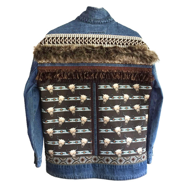 Embellished denim jacket bull heads with fake fur
