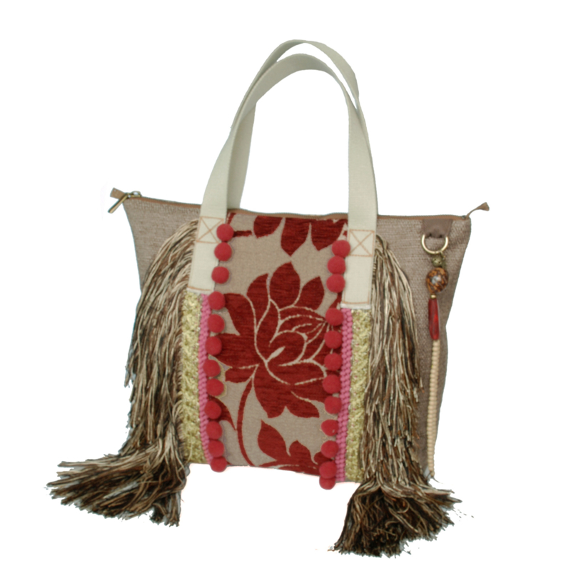 Hippie tote handbag in beige with red flowers