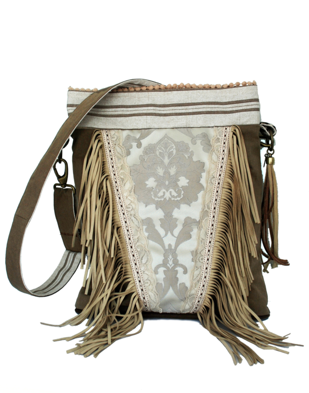 Bohemian crossbody bag brown with long fringes