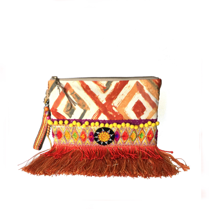 Boho clutch in orange and yellow with fringe