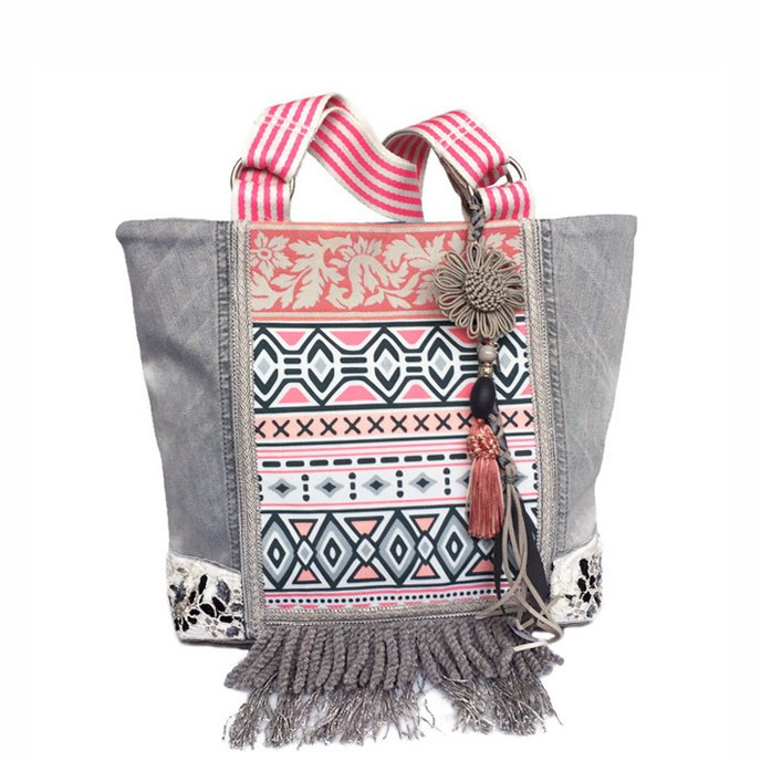 Tote handbag with soft grey old jeans and pink Aztec fabric
