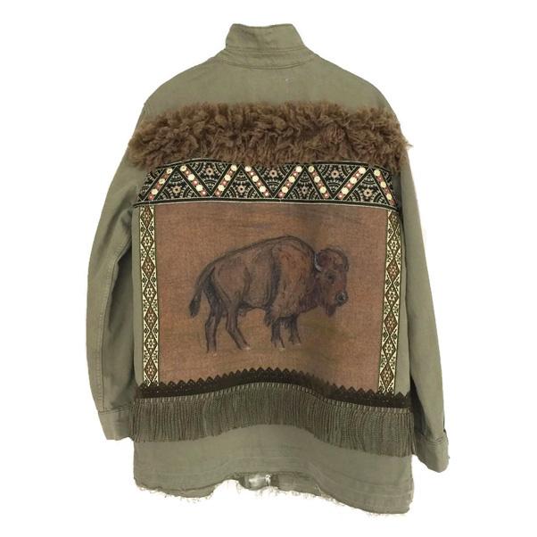 Embellished denim jacket khaki buffalo western style