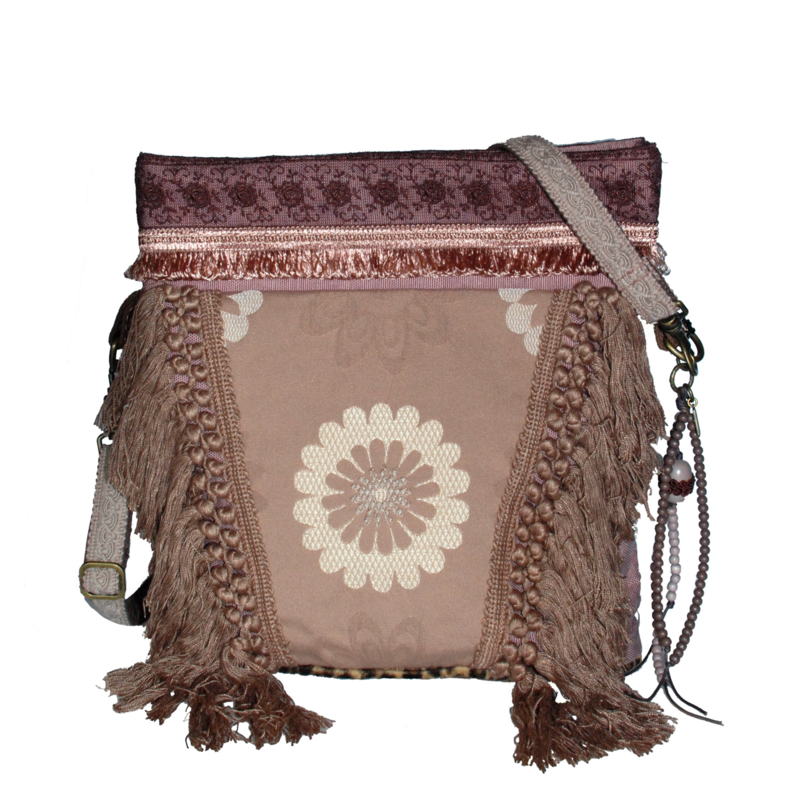 Western crossbody bag in taupe with fringes