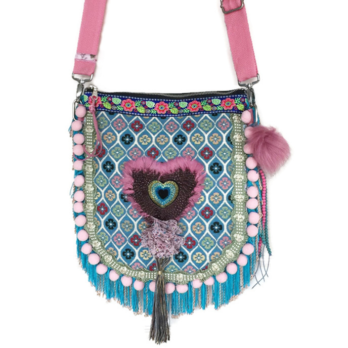 Crossbody bag with heart in turquoise pink with fringe