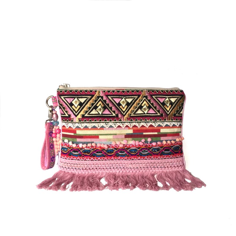 Clutch bohemian style old pink with fringes