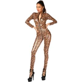 Lakleer luipaard jumpsuit