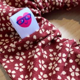 Scrunchie - bordeauxrood met sakura bloesem