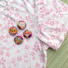 Button - paars met goud