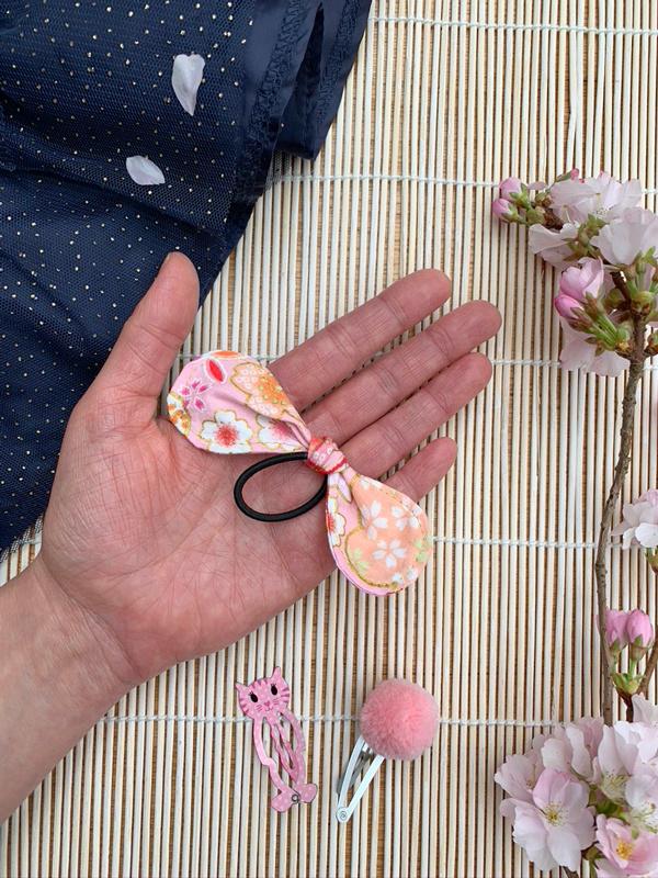 Haarstrik - roze met Japanse kersenbloesem