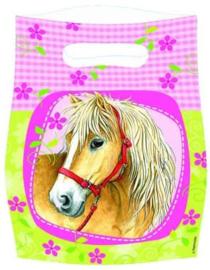 feestzakjes paarden 6 stuks 23 cm geel/roze