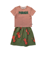 CONFETTI T-SHIRT + GREEN ROSES LONG SKIRT