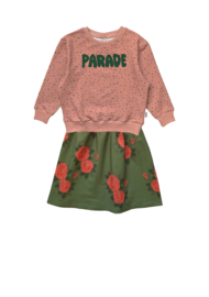 CONFETTI SWEATER + GREEN ROSES LONG SKIRT