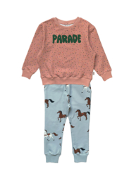 CONFETTI SWEATER + HORSES SWEATPANTS