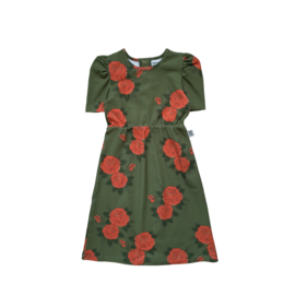 PUFFED DRESS // GREEN ROSES