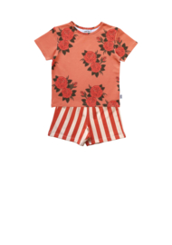 PINK ROSES T-SHIRT + STRIPE BERMUDA