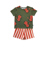 GREEN ROSES T-SHIRT + STRIPE BERMUDA