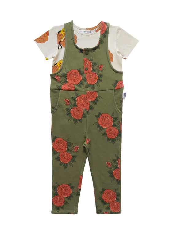 BANANA TEE + GREEN ROSES DUNGAREE