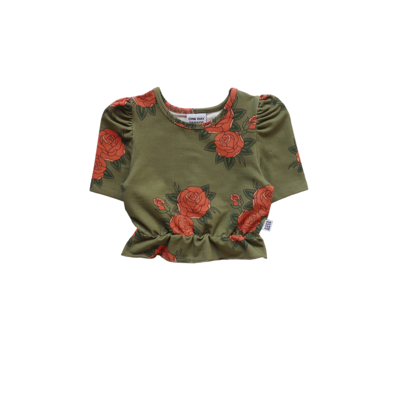 CROPPED TOP // GREEN ROSES