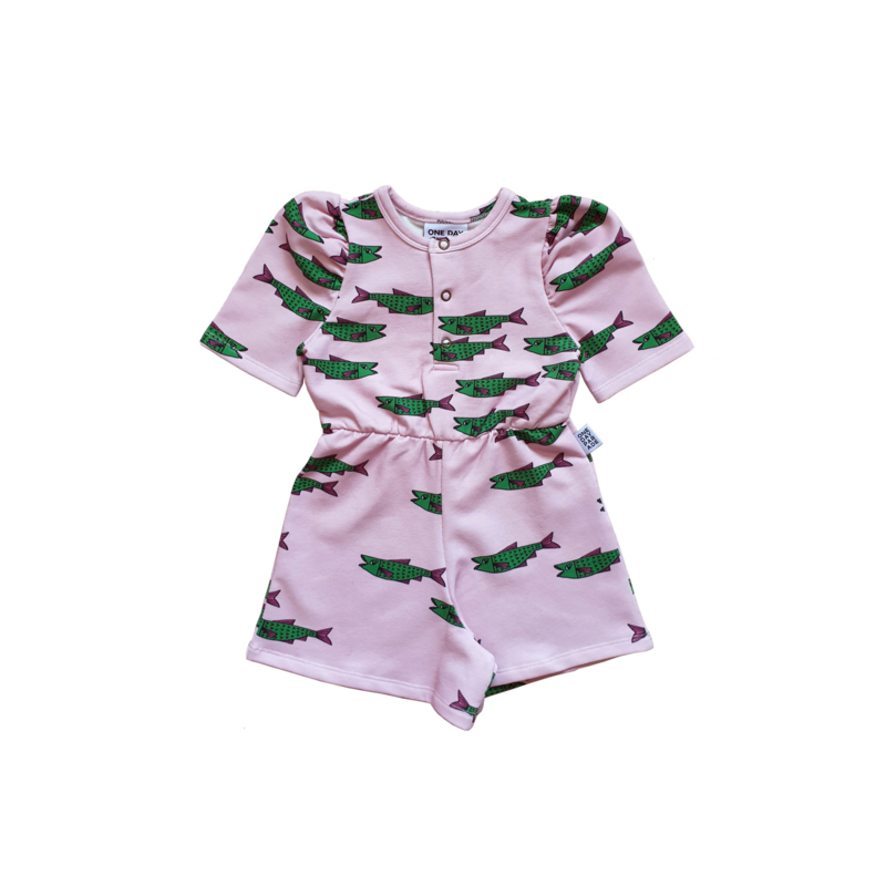 PUFFED PLAYSUIT //  PINK FISH