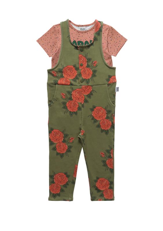 CONFETTI T-SHIRT + GREEN ROSES DUNGAREE