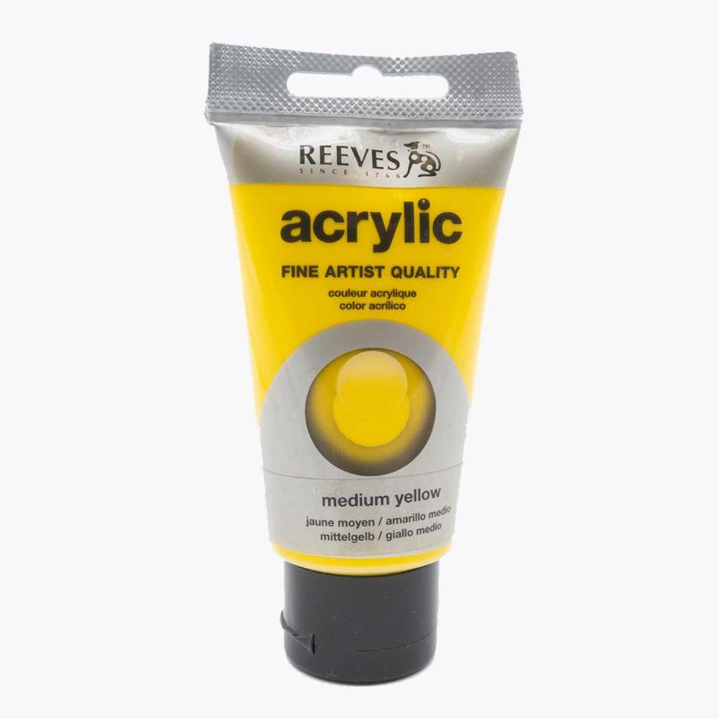 Reeves Acrylverf Medium Yellow, tube 75 ml