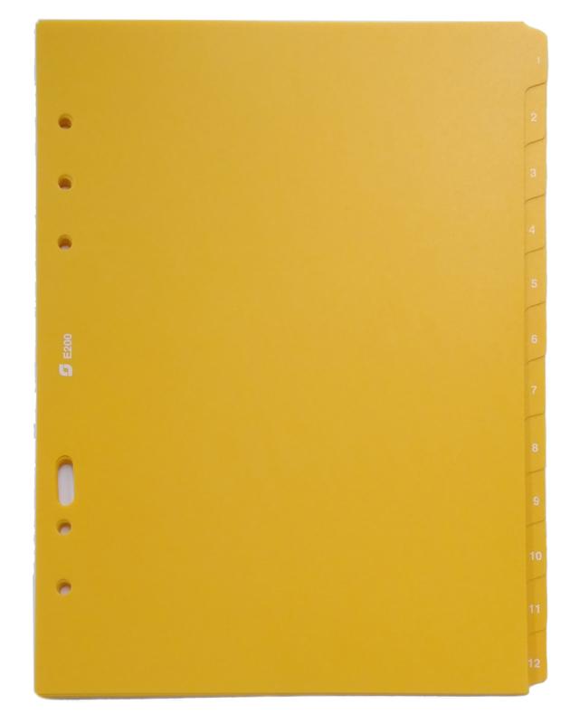 Succes A5 Tabkaarten, Syntetisch, 1 t/m 12, Geel (XE200)