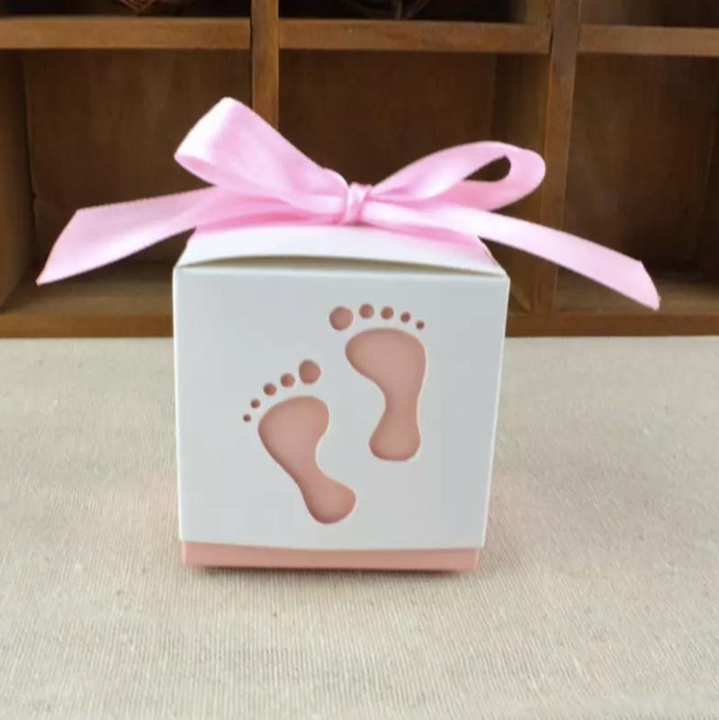 Doosje baby voetjes roze / blauw