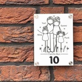 Huisnummerbord: familienaam, voornamen en huisnummer