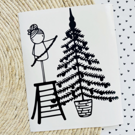 Raamsticker Kerstboom versieren