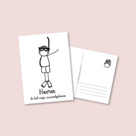 Postkaart Zwemdiploma jongen