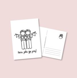 Postkaart - Jarige tweeling jongens