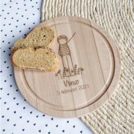 Gepersonaliseerd rond broodplankje
