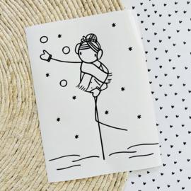 Raamsticker Sneeuwballen gooien