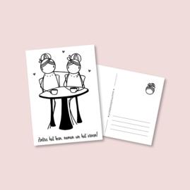 Postkaart Zodra het kan, nemen we het ervan! (tafel)