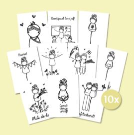 Set van 10 enkele kaarten naar keuze
