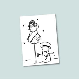 kerstkaart Sneeuwpop 10x
