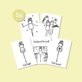Set van 5 enkele kaarten naar keuze