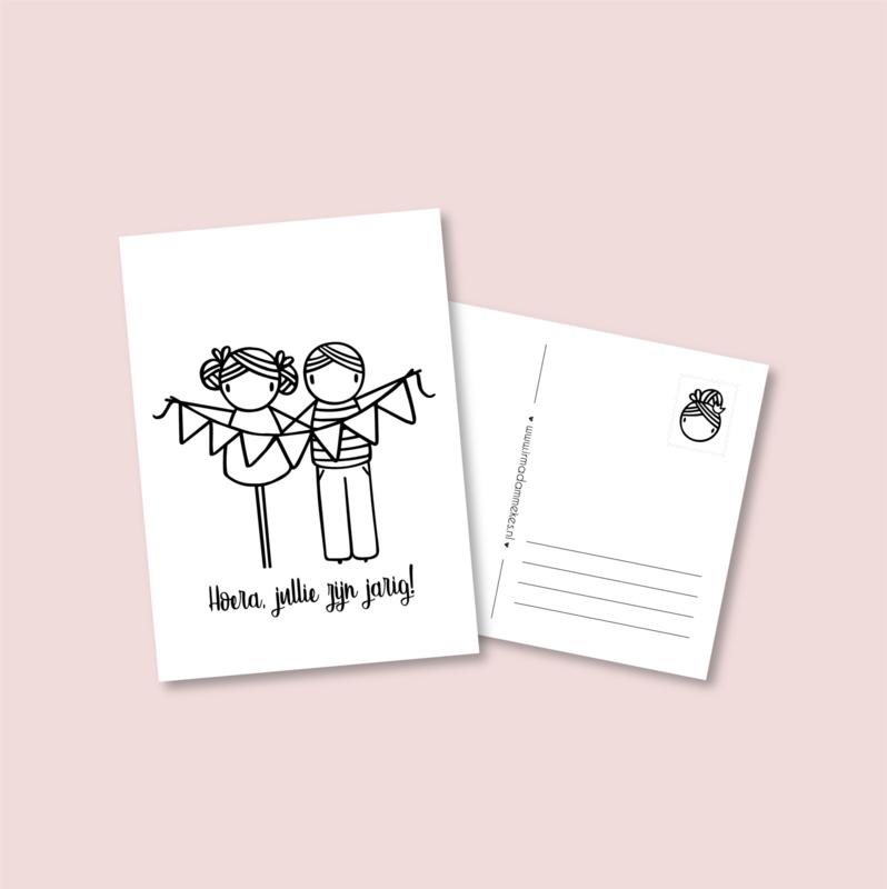 Postkaart - Jarige tweeling jongen en meisje
