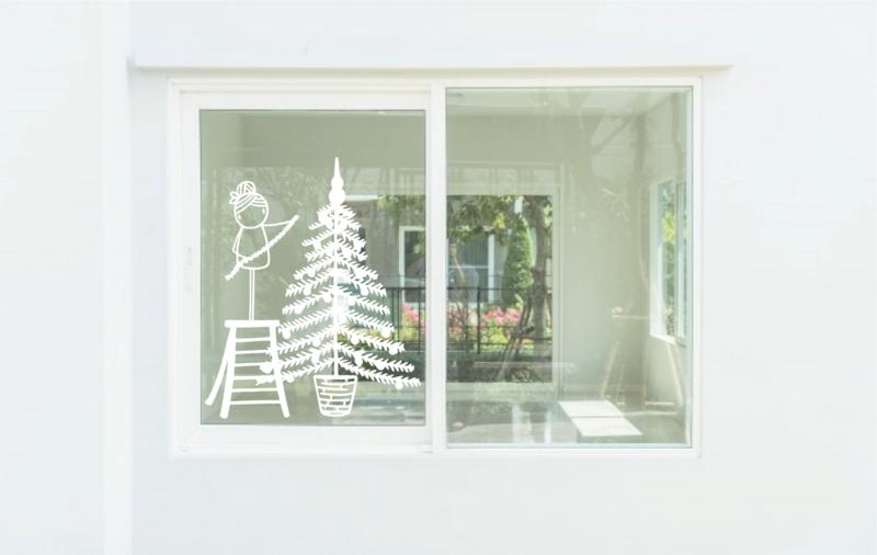 Raamtekening Kerstboom versieren